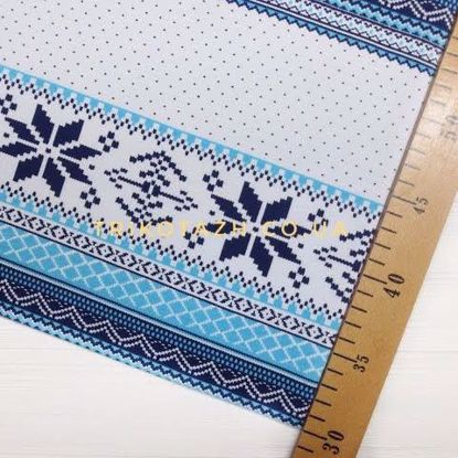 Изображение Футер 2х нитка,стрейч, Орнамент голубой